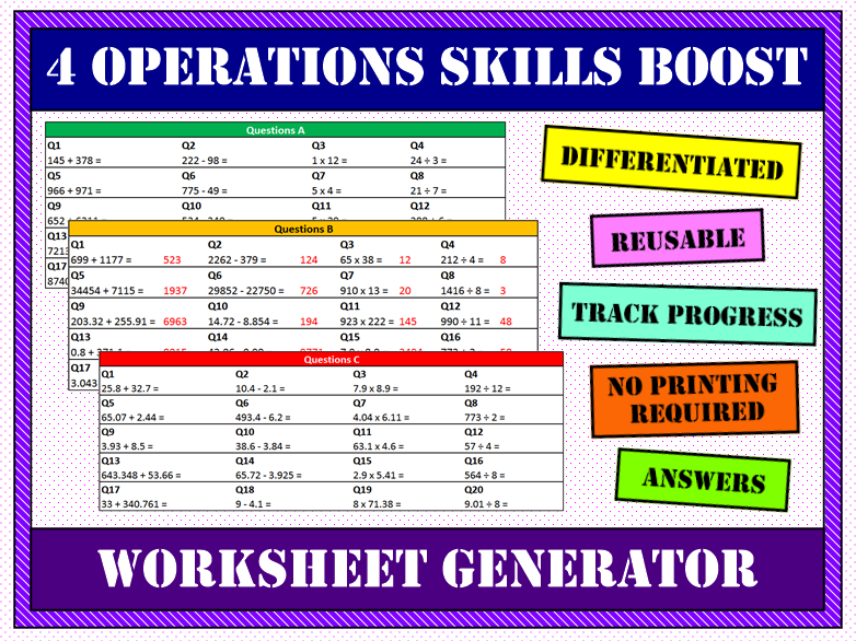📚 4 Operations Worksheet Generator 📝