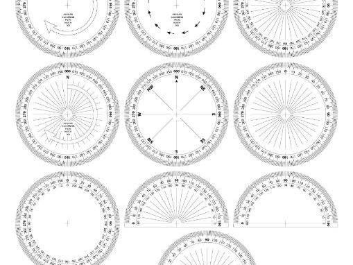 VARIOUS PRINTABLE PROTRACTORS /ANGLE MEASURERS (circular/semi-circular) and version for BEARINGS