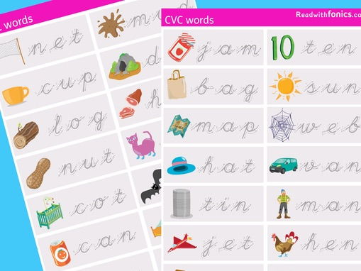 Phonics handwriting practise worksheet | CVC cursive words with pictures