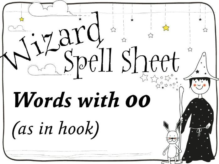 Wizard Spell Sheet: Words with oo as in hook