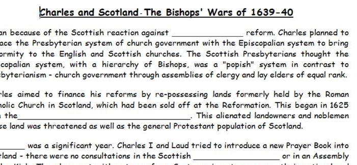 KS5 - Stuart Britain - Charles I and Scotland