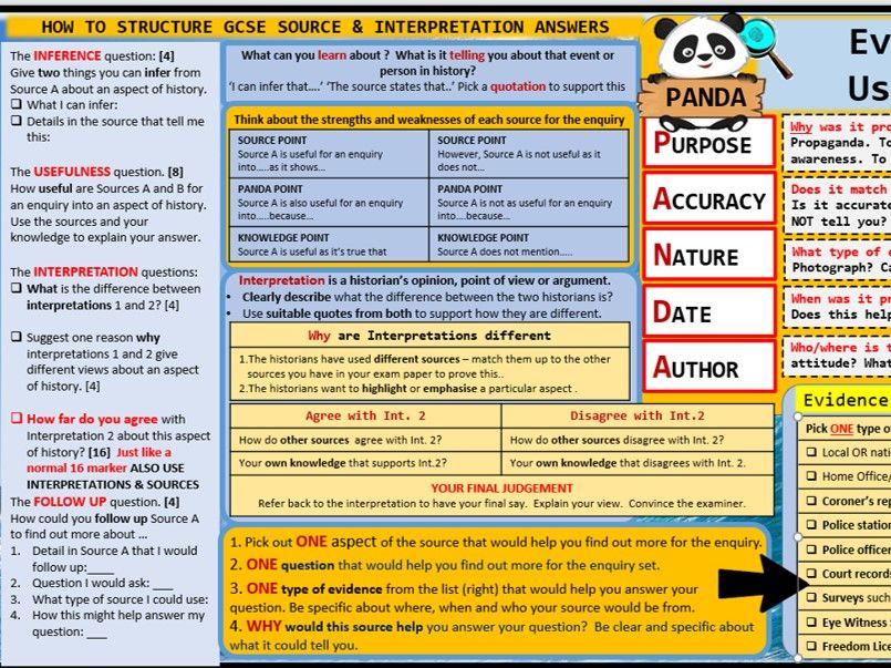GCSE Edexcel History Paper 1 and Paper 3 Source and Interpretation Mat.