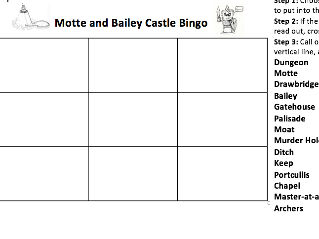 MOTTE AND BAILEY CASTLE BINGO
