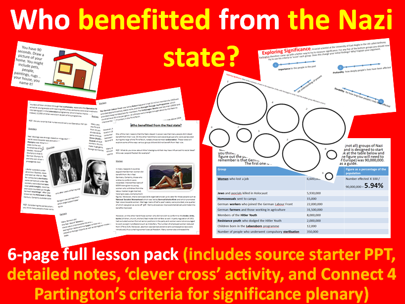 Who gained under Nazism? - 6-page full lesson (starter, notes, task, plenary)
