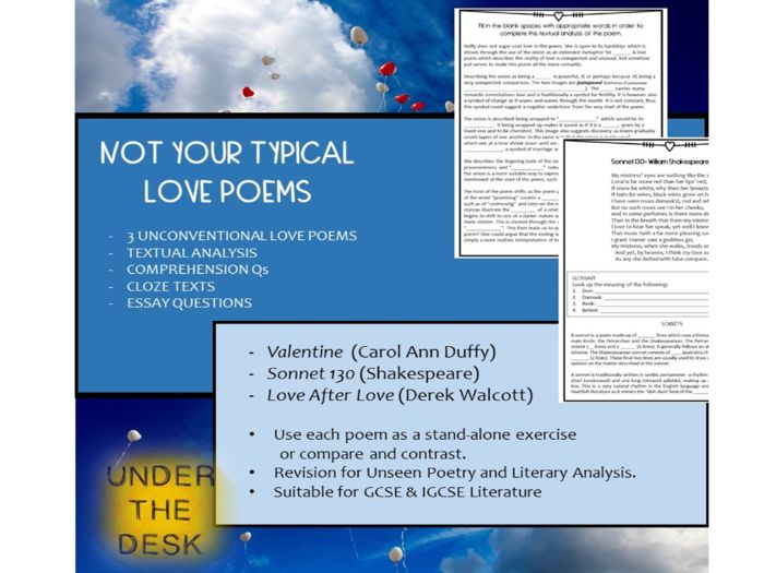 Not Your Typical Love Poems! - Guided Reading and Literary Analysis