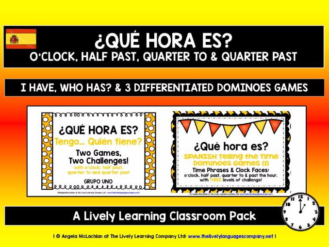 SPANISH TELLING THE TIME (1) - FIVE GAMES & CHALLENGES PACK