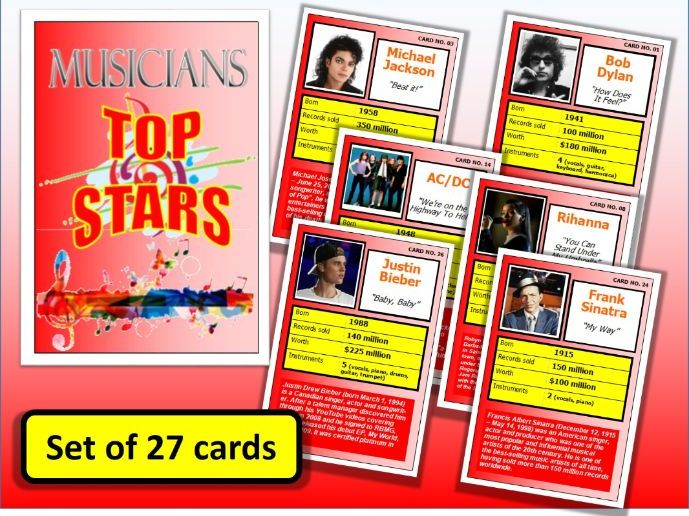 MUSICIANS Top Stars Card Game set of 27 Music Famous Performers End of Term Activity