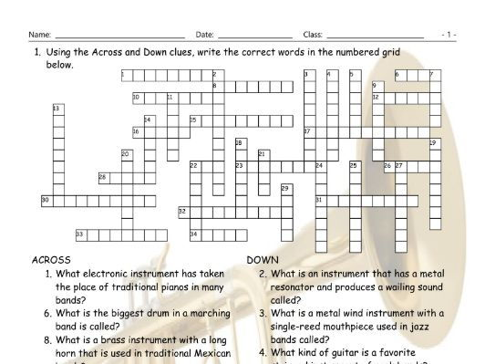 Musical Instruments Crossword Puzzle Worksheet