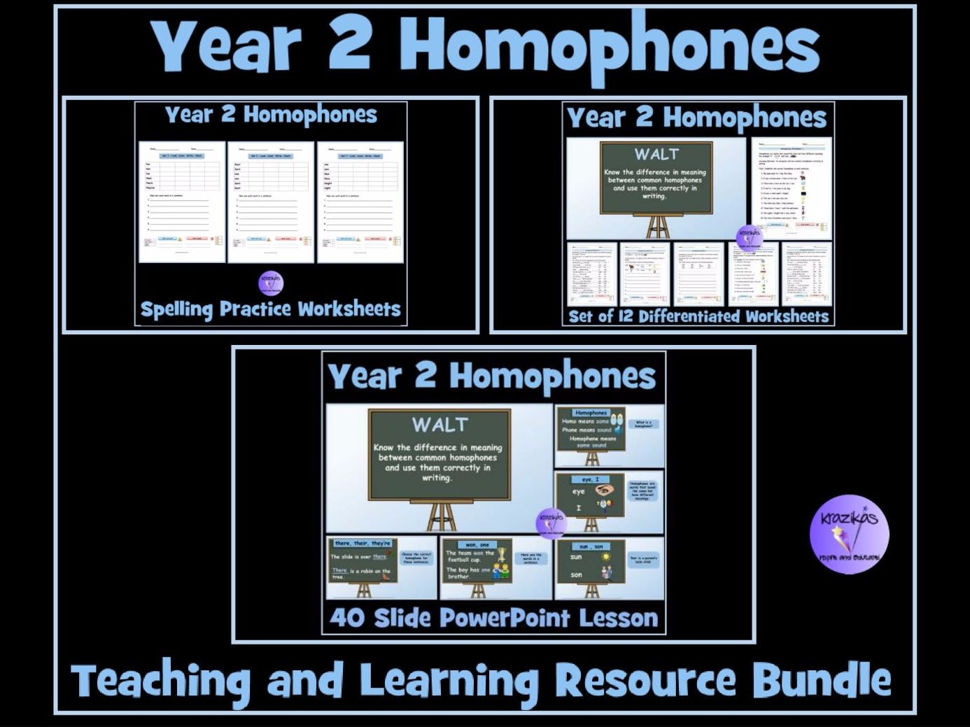 Year 2 Homophones / Near Homophones Resource Bundle