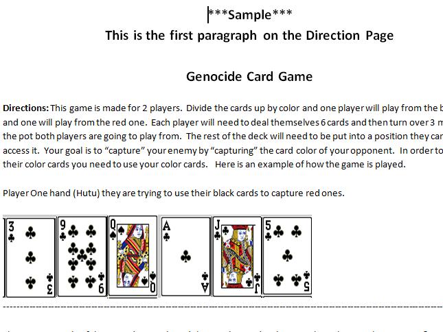 Genocide Ethnic Cleansing Card Game!!! Rwanda/Bosnia
