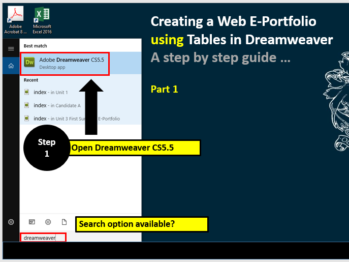 Creating a Web E-Portfolio using Dreamweaver