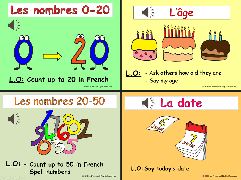 French Numbers 0-50 + Age+Date+ Birthday Bundle! 13 lessons!