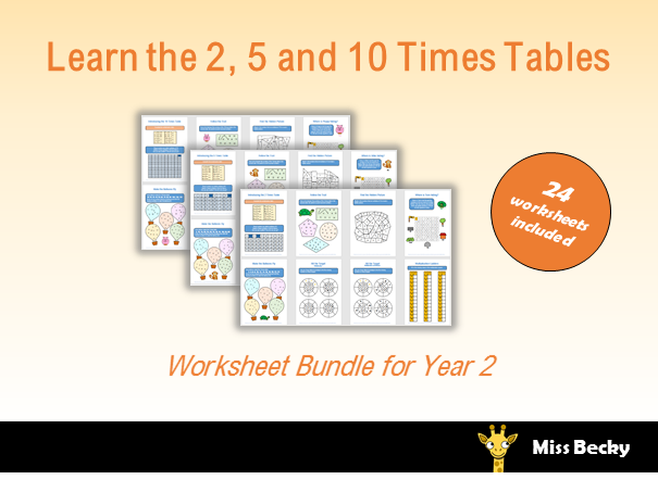 2, 5 and 10 Times Table Worksheets Year 2 Bundle