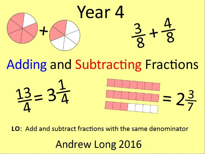 Year 4: Adding and Subtracting Fractions (Lesson 1)