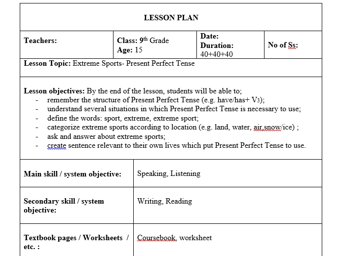 Extreme Sports-Lesson Plan