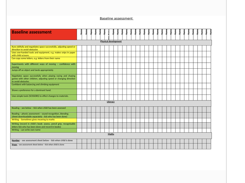 Assessment EYFS baseline and phonics