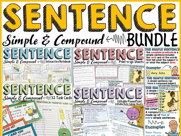 SENTENCE STRUCTURE BUNDLE: SIMPLE SENTENCE: COMPOUND SENTENCE