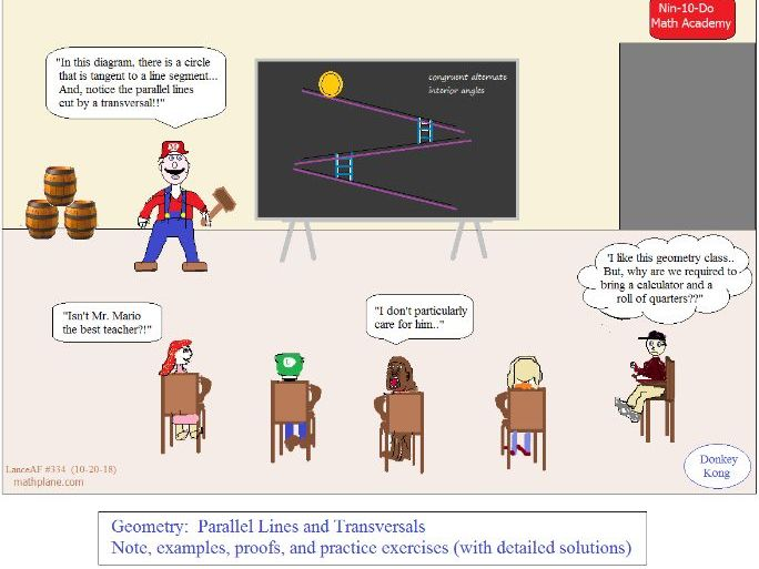 Geometry Parallel lines cut by transversals