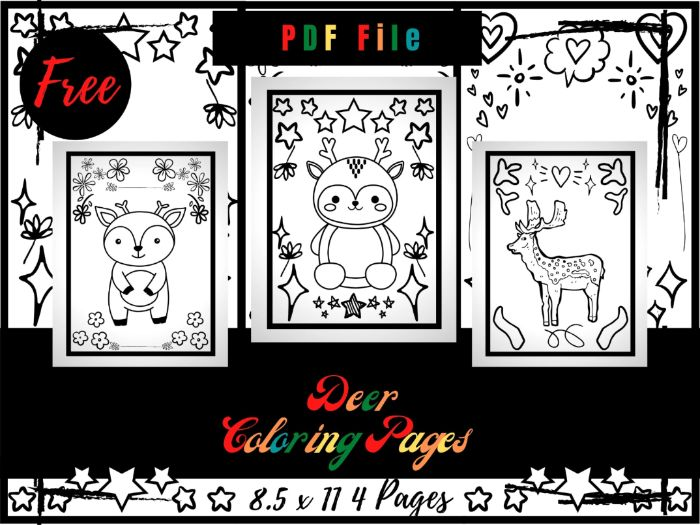 FREE Deer Colouring Pages For Kids, Colouring Sheets PDF, Deer Hunting Printable Pages