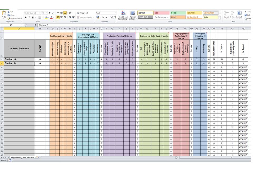 GCSE Engineering NEA tracker
