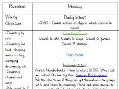 EYFS/Reception Maths Weekly Plan Autumn