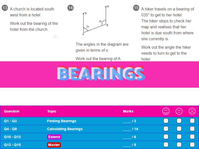 Bearings Worksheet + Answers (Higher GCSE)