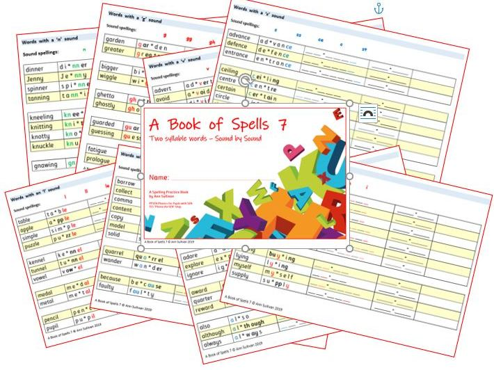 Book of Spells 7 - Spelling Practice Books - Two Syllable Words Sound by Sound