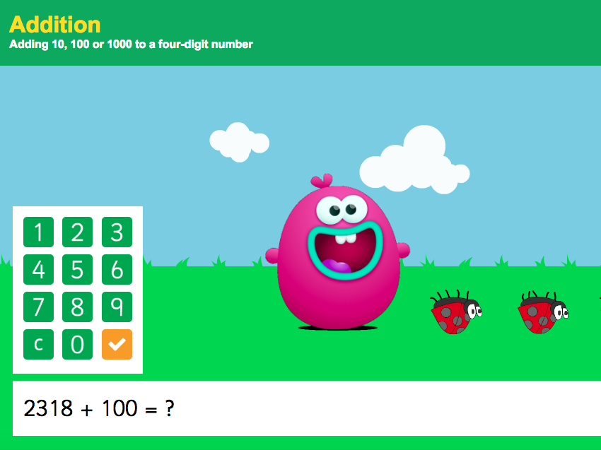 Addition over 100 - Adding 10, 100 or 1,000 to a Four-Digit Number Interactive Game - KS2 Number