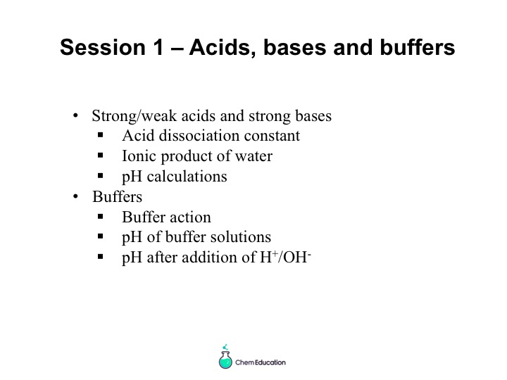 Acids, bases and buffers powerpoint presentation - overview of  topic for A Level Chemistry