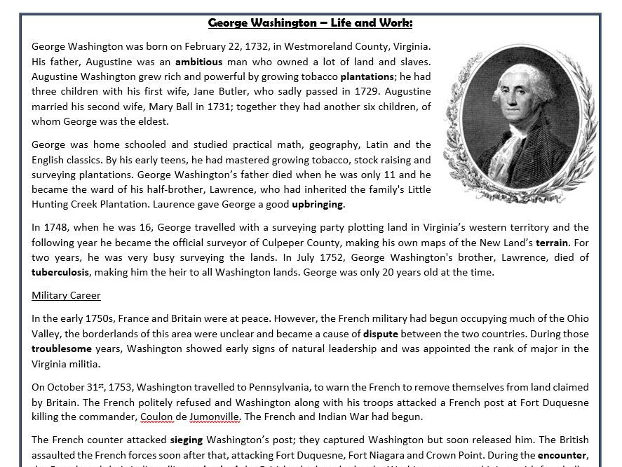 George Washington Life And Work Reading Comprehension