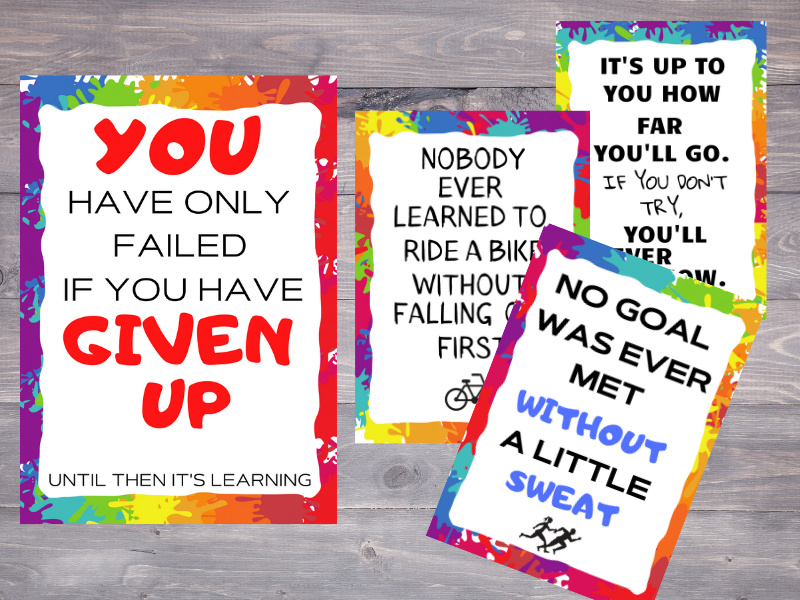 Set of four posters to encourage a growth mindset