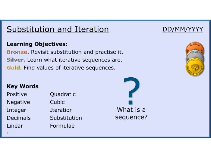 Algebra 29/31 Substitution and Iteration