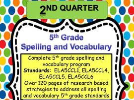 5th Grade Spelling and Vocabulary Complete Program-  Quarter Two- Common Core Aligned