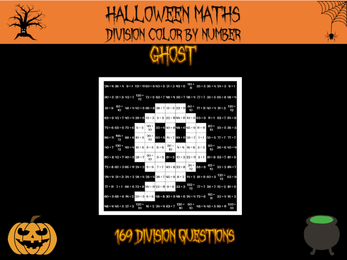 Halloween maths - division colour by number