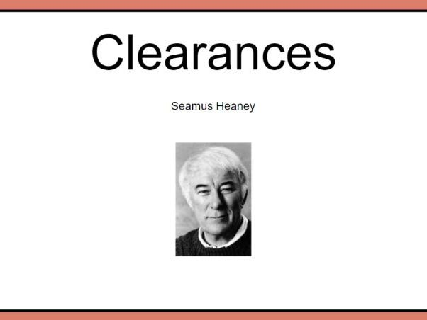 CCEA GCSE Relationships Poetry: Clearances 7
