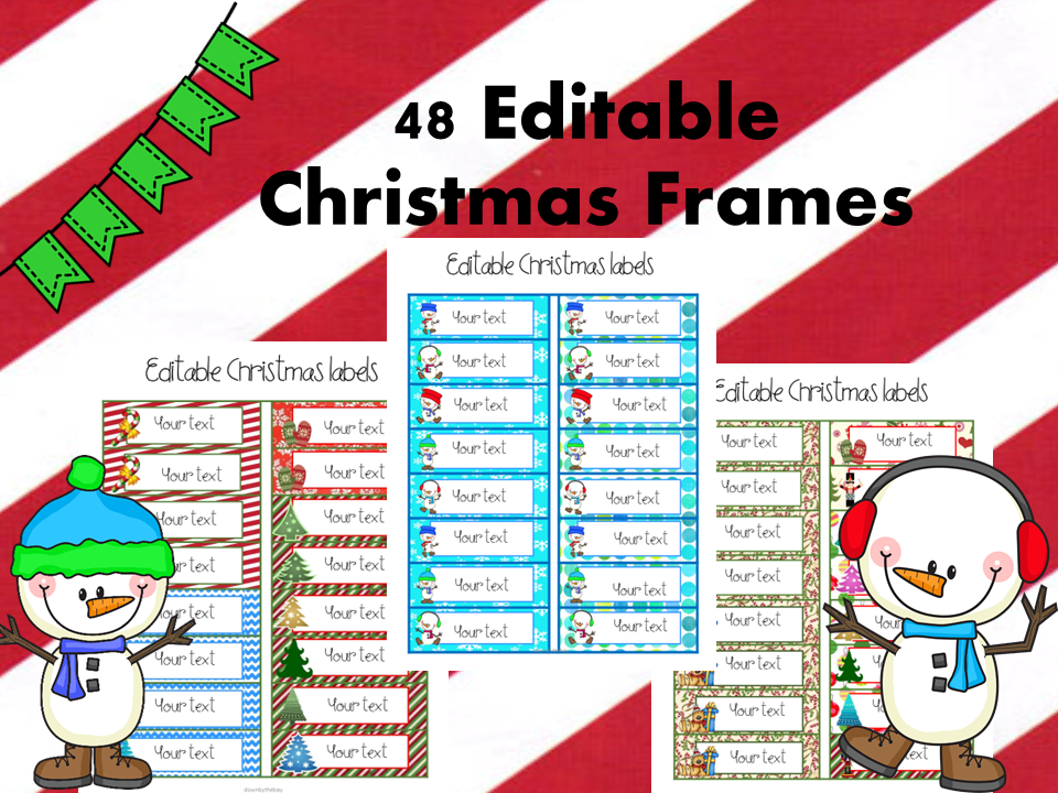 Editable Christmas Labels.Decorative Christmas Themed Labels With Editable Text