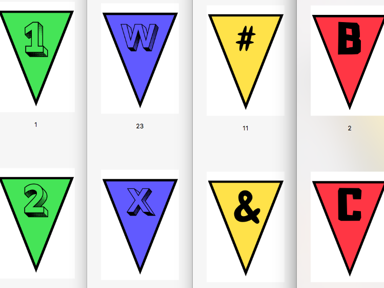 Multi-Coloured Bunting Classroom Display (Letters / Numbers / Symbols)