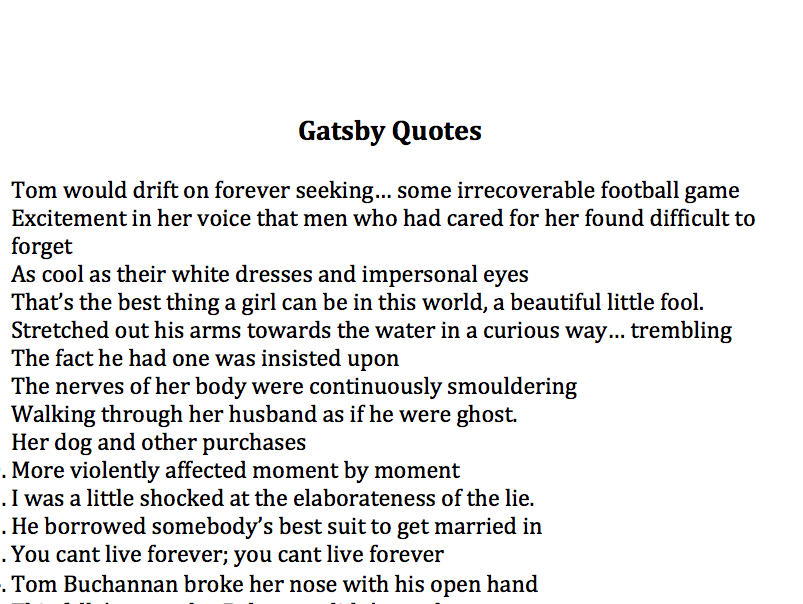 Best Quotes of \'The Great Gatsby\'