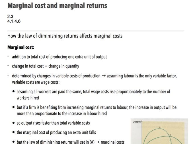 Marginal Cost and Marginal Returns - A-Level Economics