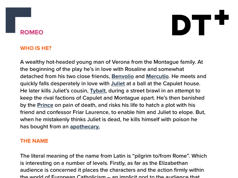 Study Guide - Characters: Romeo and Juliet