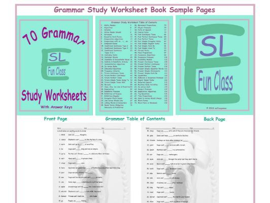 70 Grammar Study Worksheet Book