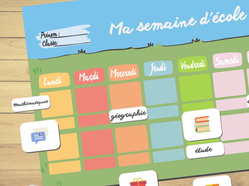 School Calendar ⎜ Ma semaine d'école : Calendrier hebdomadaire en français