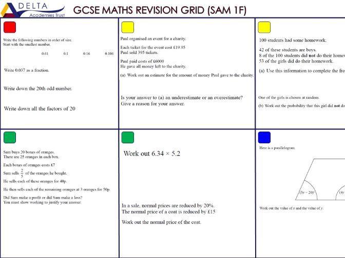 GCSE Maths Revision Grids