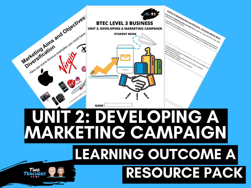 BTEC Business Unit 2: Developing a Marketing Campaign Learning Aim A | PowerPoint & Student Workbook