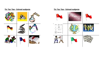School subjects pictures Tic Tac Toe