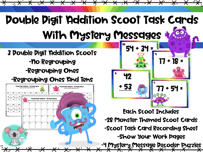 Double Digit Addition Scoot Task Cards With Mystery Messages
