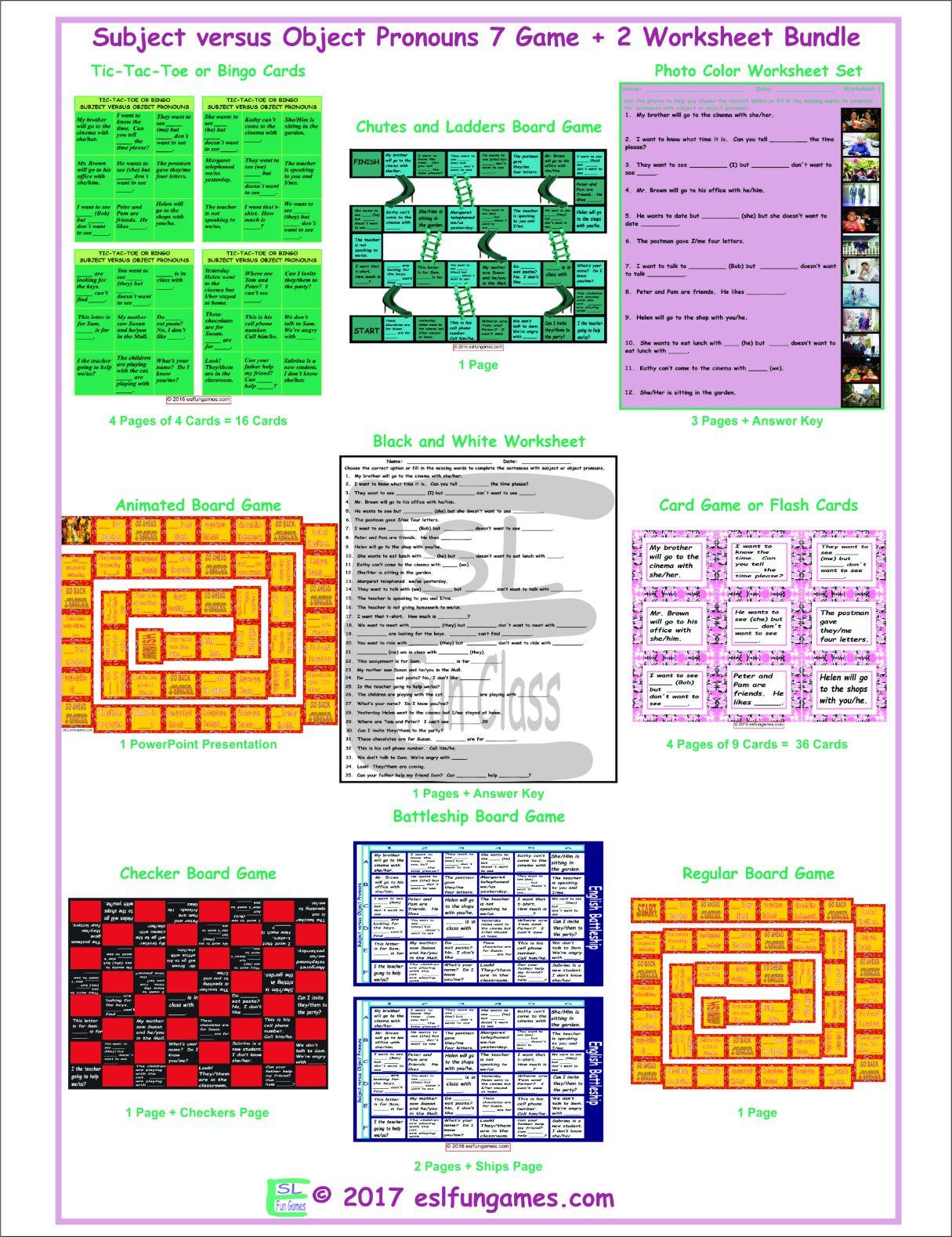 Subject versus Object Pronouns 7 Game Plus 2 Worksheet Bundle