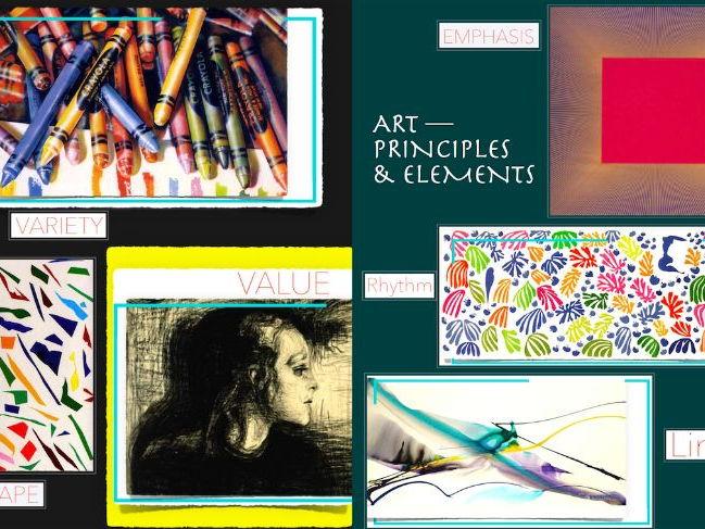 7 Art Elements + 7 Art Principles ~ Presentation + FCs + Test ~ 132 Slides