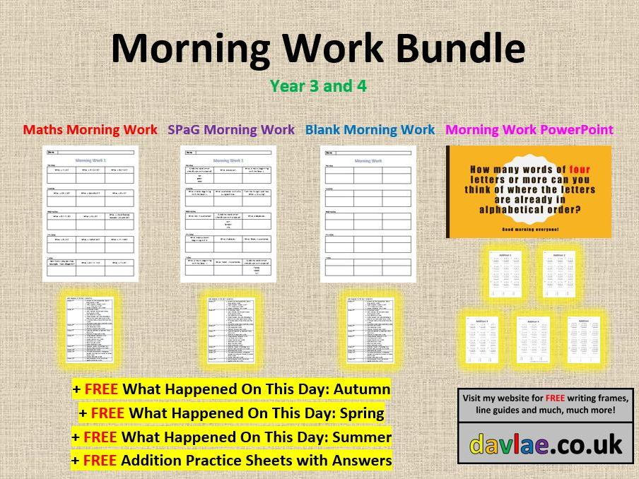 Morning Work Bundle - Year 3 and 4