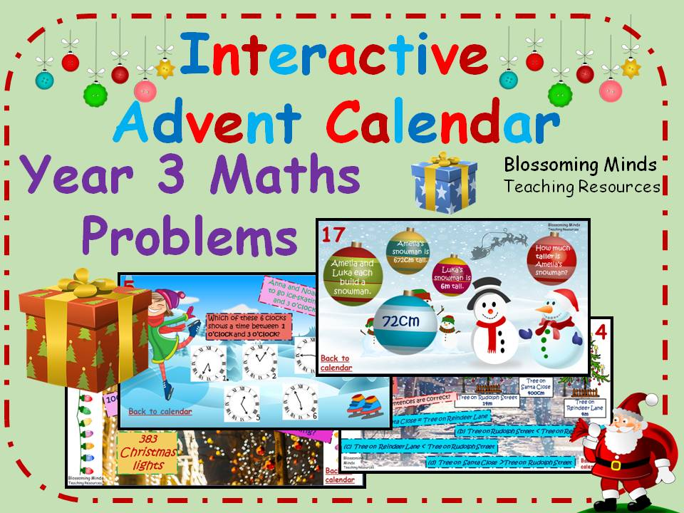 Interactive Advent Calendar - Year 3 Maths Challenges